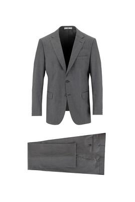 Erkek Giyim - AÇIK ANTRASİT 58 Beden Regular Fit Kareli Yünlü Takım Elbise