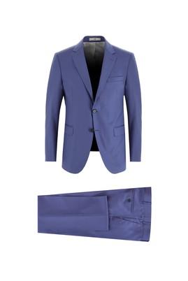 Erkek Giyim - KOYU MAVİ 58 Beden Slim Fit Kareli Yünlü Takım Elbise
