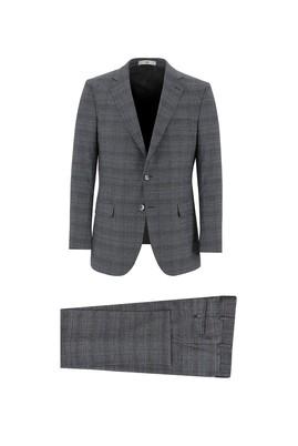 Erkek Giyim - SİYAH 48 Beden Regular Fit Ekose Takım Elbise