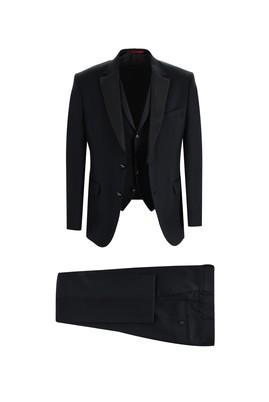 Erkek Giyim - SİYAH 58 Beden Slim Fit Mono Yaka Yelekli Smokin & Damatlık