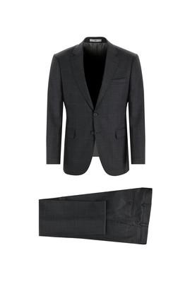 Erkek Giyim - ORTA FÜME 62 Beden Regular Fit Kareli Yünlü Takım Elbise