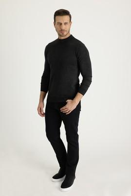 Erkek Giyim - SİYAH 52 Beden Slim Fit Örme Denim Pantolon