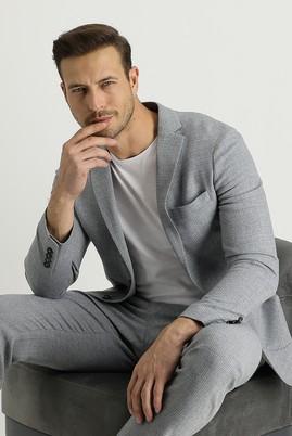 Erkek Giyim - AÇIK GRİ 46 Beden Slim Fit Yünlü Desenli Spor Ceket