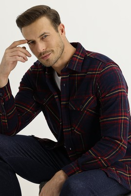 Erkek Giyim - KOYU KIRMIZI 50 Beden Shacket Gömlek / Mont