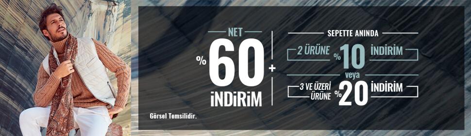 Net %60 + 2 Ürüne %10 İndirim, 3 Ürün ve Üzeri %20